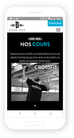 Version mobile, responsive Darioritum Crossfit + Danse - Site Internet