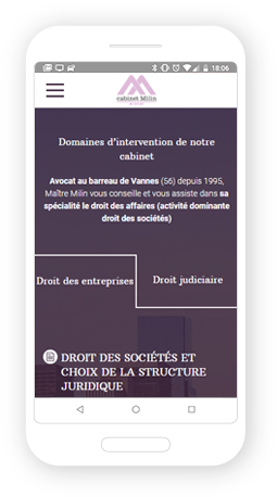 Version mobile, responsive Cabinet Milin - Site Internet