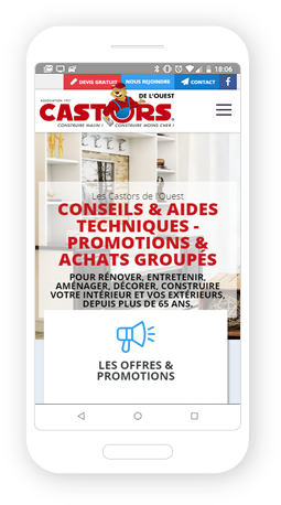 Version mobile, responsive Castors de l'Ouest - Site Internet