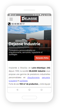 Version mobile, responsive Dejasse Industrie - Site Internet