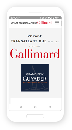 Version mobile, responsive Voyage Transatlantique Gallimard - Site Internet