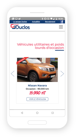 Version mobile, responsive Groupe Duclos - Site Internet