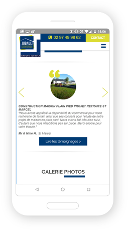 Version mobile, responsive Jubault Constructions - Site Internet