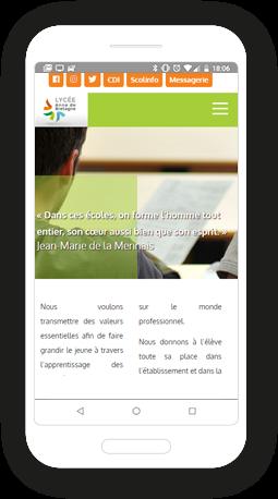 Version mobile, responsive Lycées Anne de Bretagne & Kerlebost - Site Internet