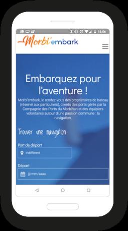 Version mobile, responsive Morbi'embark - Site Internet