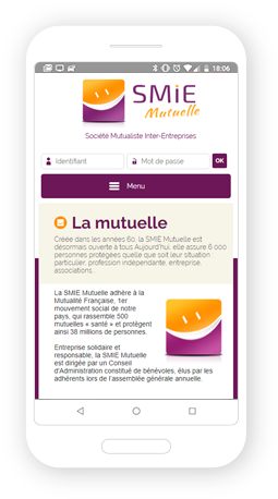 Version mobile, responsive Mutuelle SMIE - Site Internet