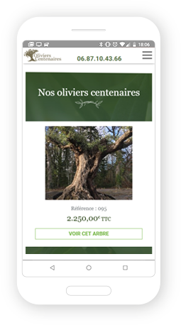 Version mobile, responsive Oliviers Centenaires - Site Internet