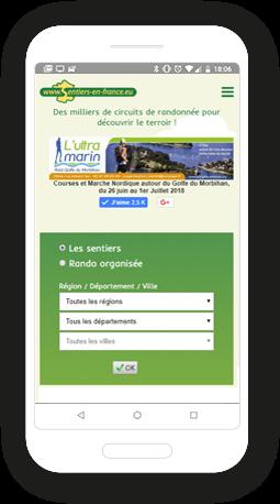 Version mobile, responsive Sentiers en France - Site Internet