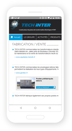 Version mobile, responsive Techinter - Site Internet