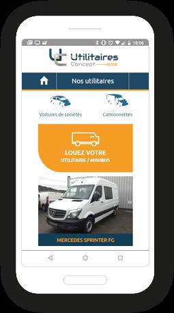 Version mobile, responsive Utilitaires Concept - Site Internet