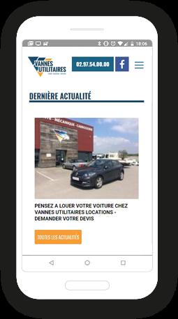 Version mobile, responsive Vannes Utilitaires Location - Site Internet