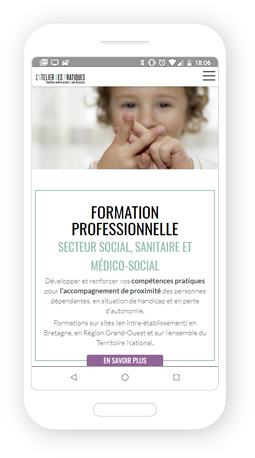 Version mobile, responsive L'Atelier des Pratiques - Site Internet
