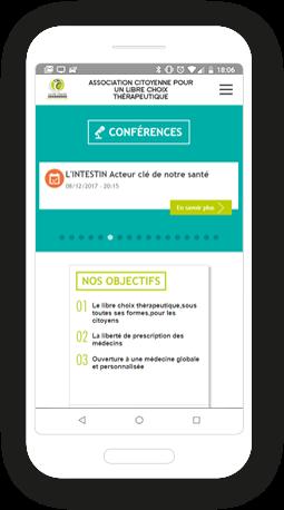 Version mobile, responsive Santé Liberté Bretagne - Site Internet