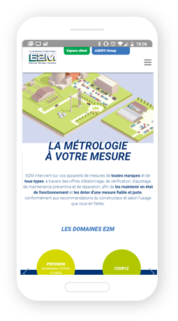 Version mobile, responsive E2M - Site Internet