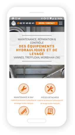 Version mobile, responsive Hydro Levage - Site Internet