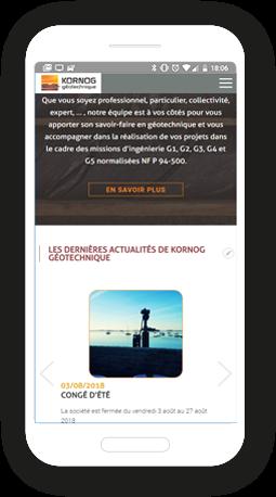 Version mobile, responsive KORNOG géotechnique - Site Internet