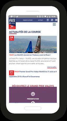 Version mobile, responsive Grand prix Valdys - Site Internet