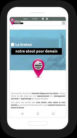 Version mobile, responsive Apprendre en Breton - Site Internet