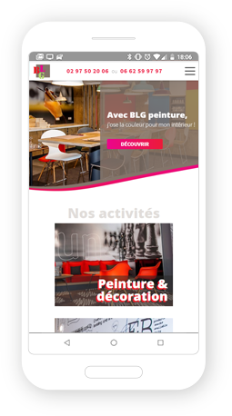 Version mobile, responsive BLG Peinture - Site Internet