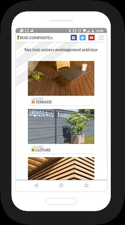 Version mobile, responsive Bois Composite - Site Internet