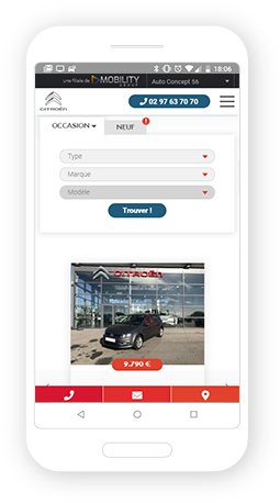 Version mobile, responsive Citroën Moréac - Site Internet