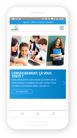 Version mobile, responsive Devenir Enseignant - Site Internet