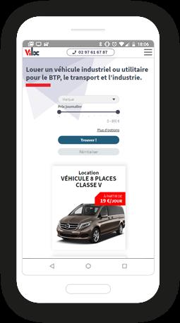 Version mobile, responsive Viloc - Site Internet