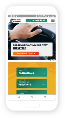 Version mobile, responsive Auto-École de Cliscouët - Site Internet