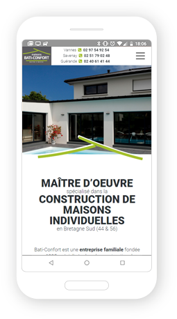 Version mobile, responsive Bati Confort - Site Internet