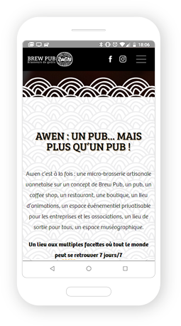 Version mobile, responsive Brasserie Awen - Site Internet