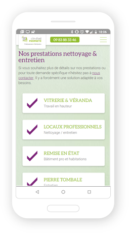 Version mobile, responsive Clin d'œil propreté - Site Internet