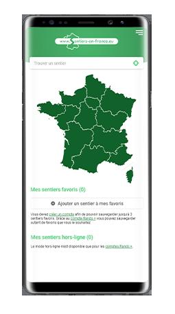 Version mobile, responsive Sentiers en France - Application mobile