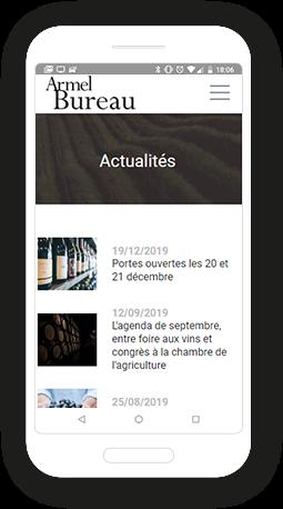 Version mobile, responsive Bureau du vin - Site Internet