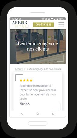 Version mobile, responsive Arbor Design  - Site Internet