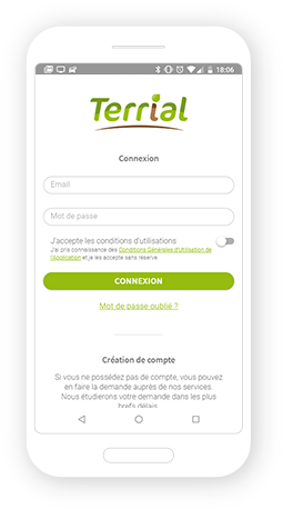 Version mobile, responsive Terrial application - Application mobile