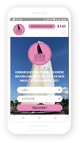 Version mobile, responsive Caseneuve Maxi Catamaran - Site Internet
