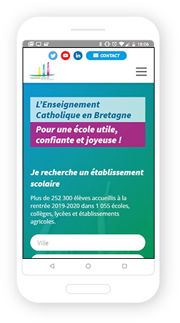 Version mobile, responsive Enseignement catholique Bretagne - Site Internet