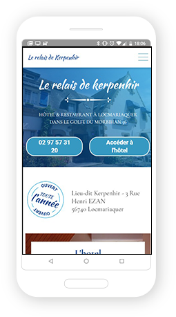 Version mobile, responsive Relais de Kerpenhir - Site Internet