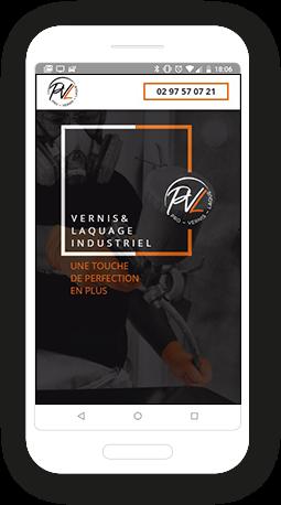 Version mobile, responsive Pro Vernis Laque - Site Internet