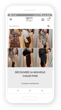 Version mobile, responsive Sweety Boutique - Site Internet