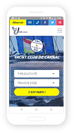 Version mobile, responsive Yacht Club de Carnac - Site Internet