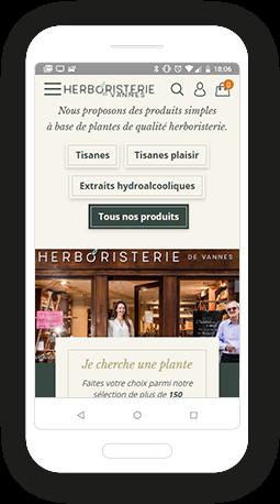 Version mobile, responsive L'herboristerie - Site Internet