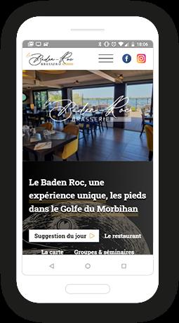 Version mobile, responsive Le Baden Roc - Site Internet