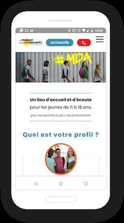 Version mobile, responsive Maison des adolescents - Site Internet