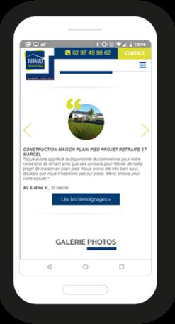Version mobile, responsive Jubault Constructions - Site Internet