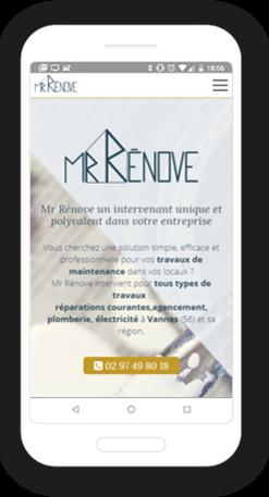 Version mobile, responsive Mr Rénove - Site Internet