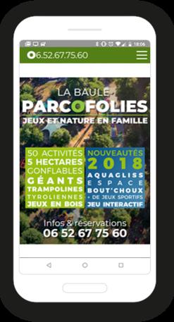 Version mobile, responsive ParcOfolies - Site Internet