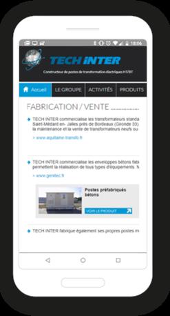 Version mobile, responsive Techinter - Site Internet