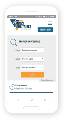 Version mobile, responsive Vannes Utilitaires - Site Internet