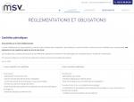 Page réglementations du site Internet MSV Sarl à Vannes dans le Morbihan 56